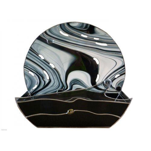 plat verre tiffany noir irisé dodécagonal