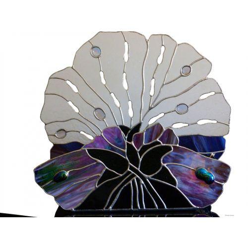 Jardinière décorative verre tiffany noir effets vagues