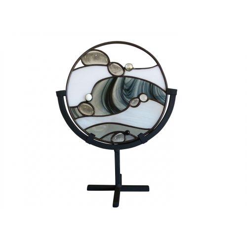 Vitrail décoratif rond noir blanc beige tiffany