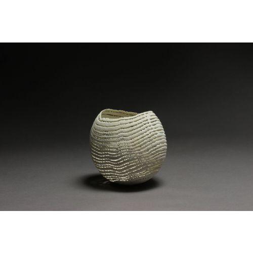 "Sculpture dentelle de bois ""Bol blanc moyen"""